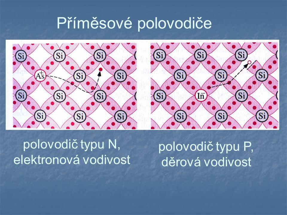 Příměsové polovodiče polovodič typu N, elektronová vodivost polovodič typu P, děrová vodivost
