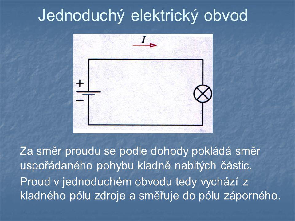 Jednoduchý elektrický obvod Za směr proudu se podle dohody pokládá směr uspořádaného pohybu kladně nabitých částic.