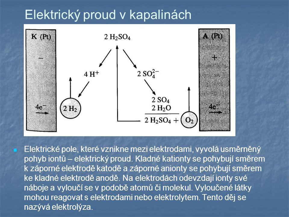 Elektrický proud v kapalinách Elektrické pole, které vznikne mezi elektrodami, vyvolá usměrněný pohyb iontů – elektrický proud.