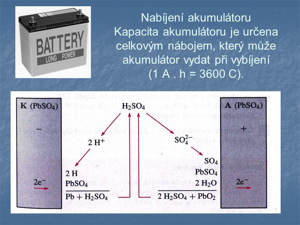 Nabíjení akumulátoru Kapacita akumulátoru je určena celkovým nábojem, který může akumulátor vydat při vybíjení (1 A.