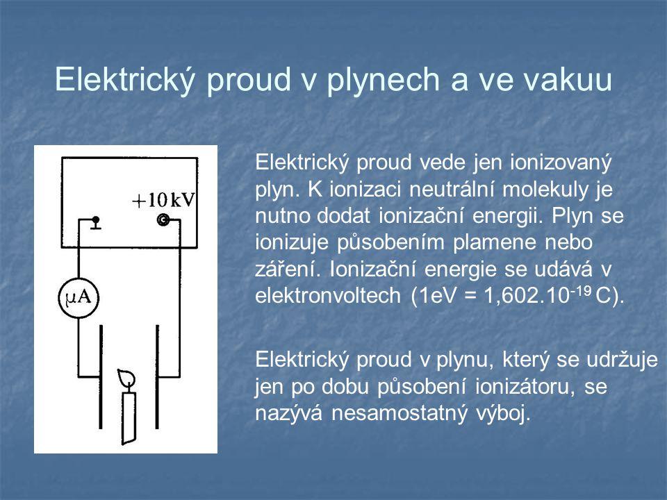 Elektrický proud v plynech a ve vakuu Elektrický proud vede jen ionizovaný plyn.