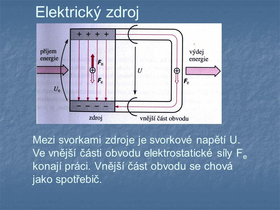 Elektrický zdroj Mezi svorkami zdroje je svorkové napětí U.