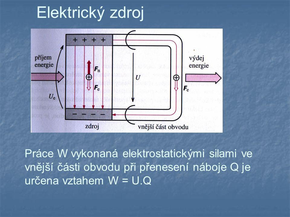 Elektrický zdroj Práce W vykonaná elektrostatickými silami ve vnější části obvodu při přenesení náboje Q je určena vztahem W = U.Q