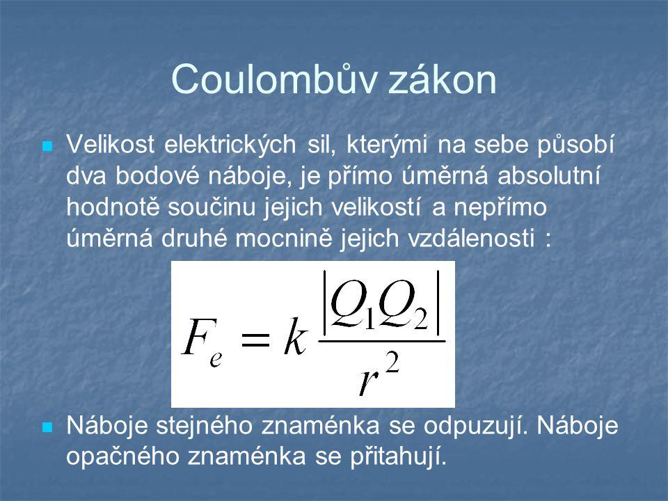 Coulombův zákon Velikost elektrických sil, kterými na sebe působí dva bodové náboje, je přímo úměrná absolutní hodnotě součinu jejich velikostí a nepřímo úměrná druhé mocnině jejich vzdálenosti : Náboje stejného znaménka se odpuzují.