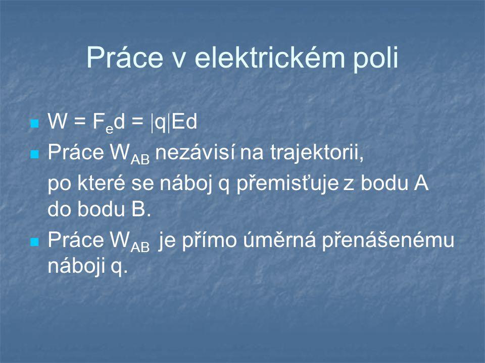 Práce v elektrickém poli W = F e d =  q  Ed Práce W AB nezávisí na trajektorii, po které se náboj q přemisťuje z bodu A do bodu B. Práce W AB je pří