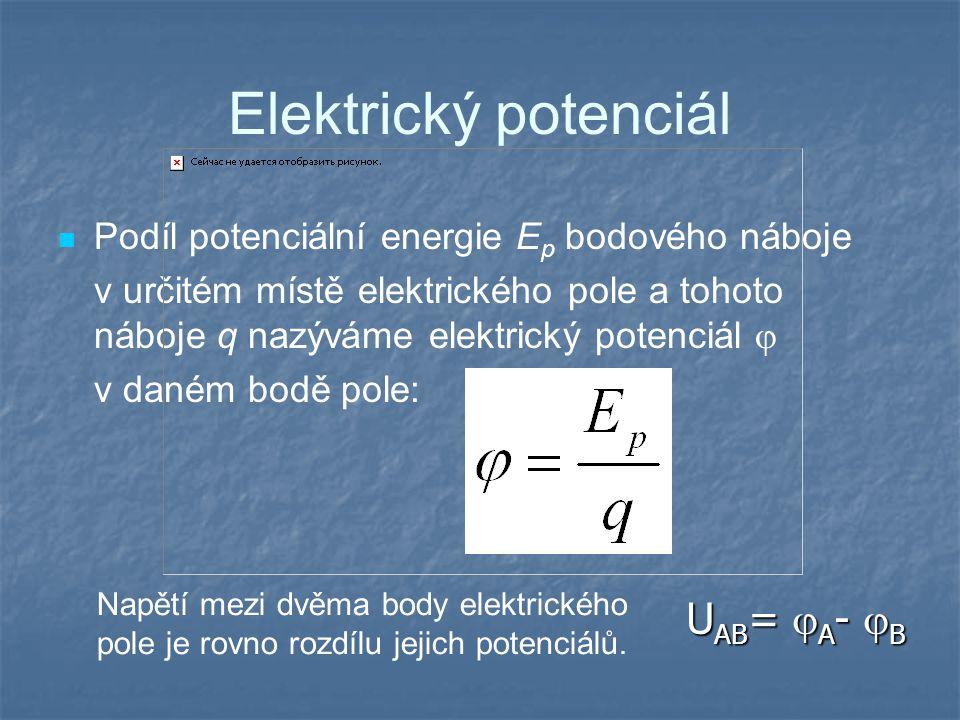 Elektrický potenciál Podíl potenciální energie E p bodového náboje v určitém místě elektrického pole a tohoto náboje q nazýváme elektrický potenciál  v daném bodě pole: Napětí mezi dvěma body elektrického pole je rovno rozdílu jejich potenciálů.