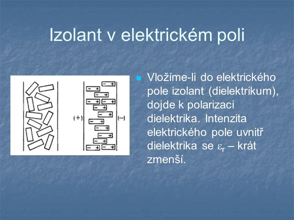 Izolant v elektrickém poli Vložíme-li do elektrického pole izolant (dielektrikum), dojde k polarizaci dielektrika.