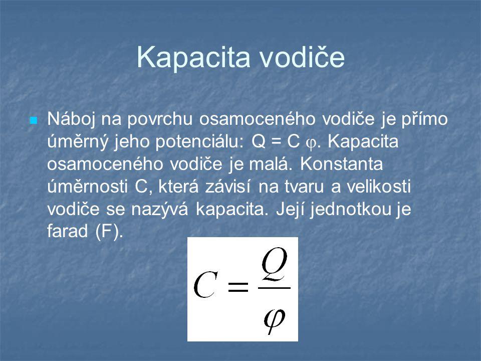 Kapacita vodiče Náboj na povrchu osamoceného vodiče je přímo úměrný jeho potenciálu: Q = C .