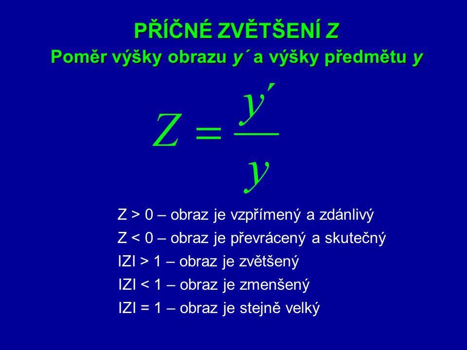 4. Zobrazovací rovnice kulového zrcadla a´ – obrazová vzdálenost a – předmětová vzdálenost f – ohnisková vzdálenost;