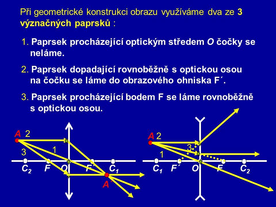 F – předmětové ohnisko F ´– obrazové ohnisko spojka (skutečné) rozptylka (neskutečné) spojka (skutečné) rozptylka (neskutečné) Předmětový prostor – prostor, ze kterého světlo do čočky vstupuje (prostor před čočkou) Obrazový prostor – prostor, do kterého světlo po průchodu čočkou vystupuje ( prostor za čočkou) f – předmětová ohnisková vzdálenost; f = |FO | f ´– obrazová ohnisková vzdálenost; f´ = |F´O | Tenká čočka – její tloušťka je zanedbatelná ve srovnání s její ohniskovou vzdáleností – optické prostředí stejné před i za čočkou » f´= f
