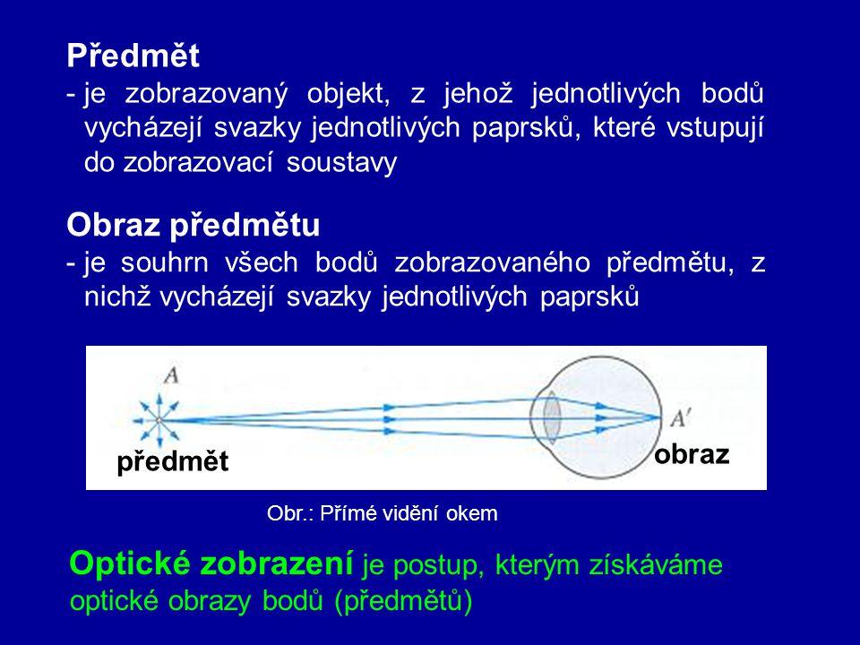 Předmět -je zobrazovaný objekt, z jehož jednotlivých bodů vycházejí svazky jednotlivých paprsků, které vstupují do zobrazovací soustavy Obr.: Přímé vidění okem předmět obraz Obraz předmětu -je souhrn všech bodů zobrazovaného předmětu, z nichž vycházejí svazky jednotlivých paprsků Optické zobrazení je postup, kterým získáváme optické obrazy bodů (předmětů)