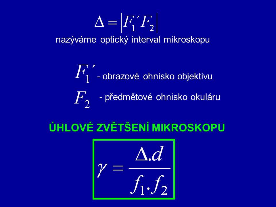 objektiv okulár F1F1 F1´F1´ F2´F2´ F2F2 oko ohnisková vzdálenost objektivu f 1 ohnisková vzdálenost okuláru f 2