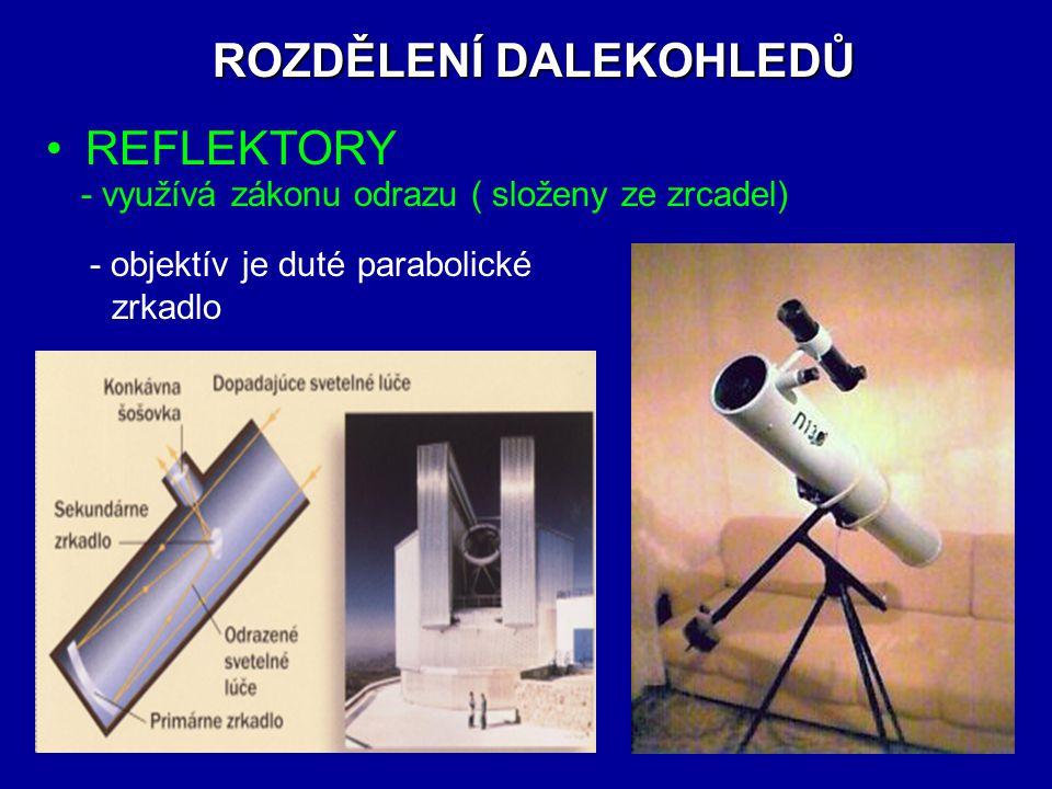 DALEKOHLED používa sa na zobrazení dostatečně velkých předmětů ve velkých vzdálenostech - skládá se z objektivu a okuláru - zvětšení je dáno poměrem ohnis.