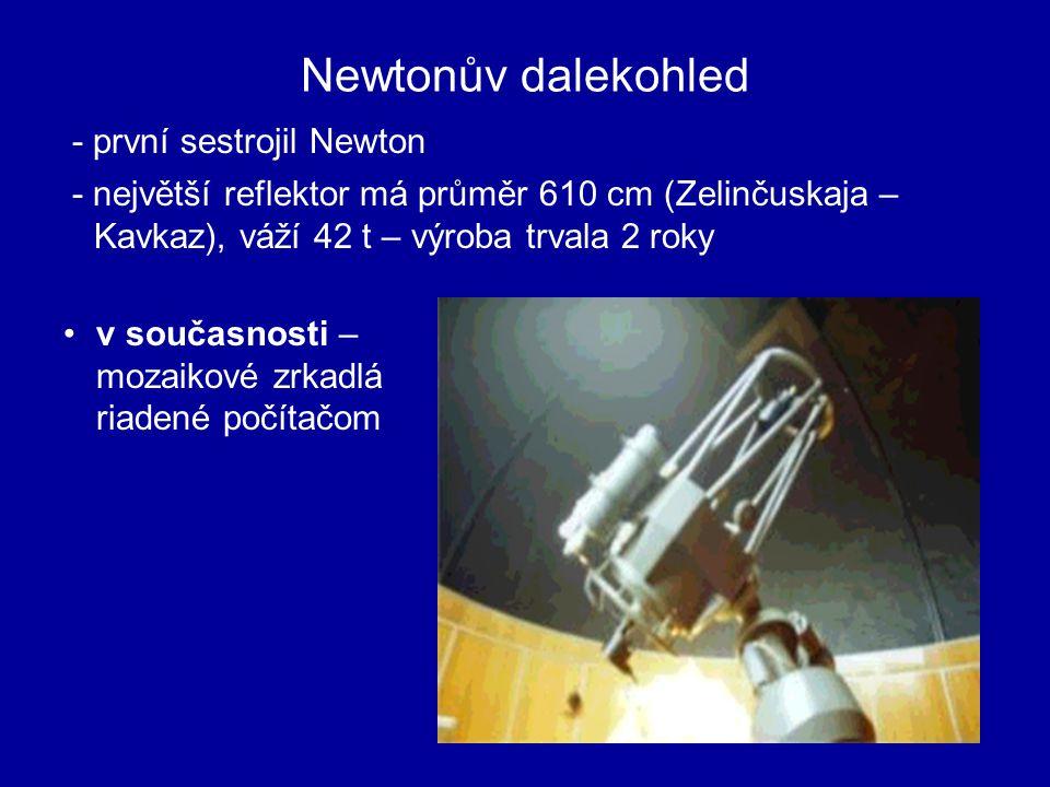 ROZDĚLENÍ DALEKOHLEDŮ REFLEKTORY - využívá zákonu odrazu ( složeny ze zrcadel) - objektív je duté parabolické zrkadlo