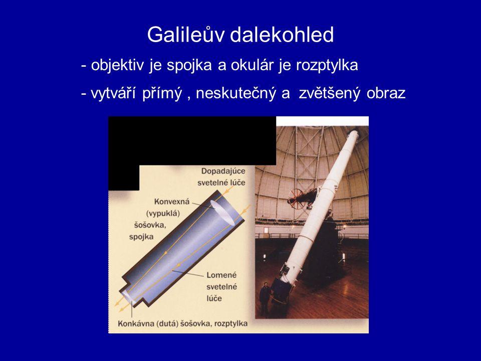 - vytváří obraz výškově i stranově převrácený, zvětšený a neskutečný REFFRAKTORY - využívá zákonu lomu ( složeny z čoček) - objektív i okulár jsou spojky Keplerův dalekohled
