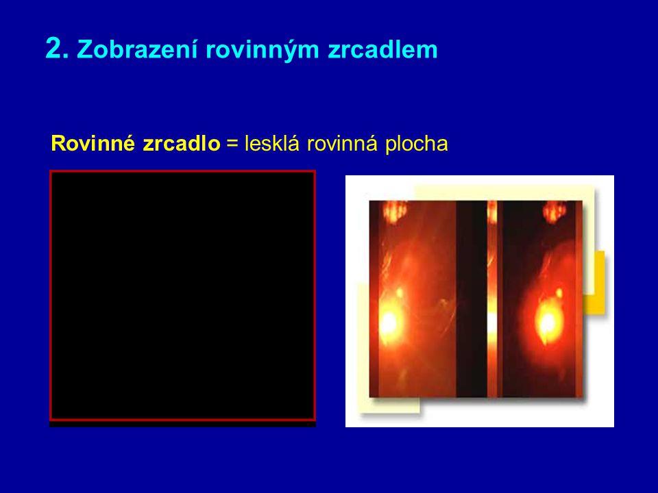 ZOBRAZOVÁNÍ POMOCÍ ZRCADEL ZRCADLO je hladká optická plocha, jejíž nerovnosti lze pro optické zobrazení zanedbat – využívá zákona odrazu – zobrazovat můžeme pomocí zrcadla: rovinné kulové duté (konkávní) vypuklé (konvexní) – skutečný obraz se vytváří před zrcadlem, zdánlivý za ním