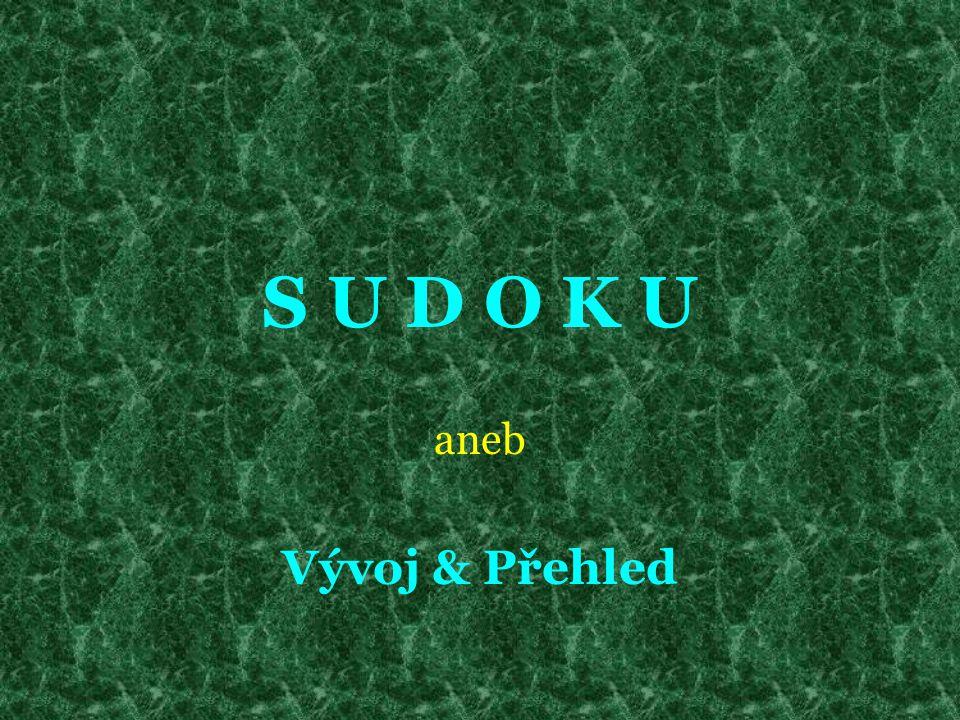 Odkazy & Zdroje http://sudoku.wz.cz/ http://www.sudoku.unas.cz/help/whatisit/ http://sudoku.site.cz/sudoku_tabulky.html http://cs.wikipedia.org/wiki/Sudoku