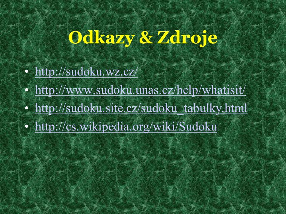 Odkazy & Zdroje http://sudoku.wz.cz/ http://www.sudoku.unas.cz/help/whatisit/ http://sudoku.site.cz/sudoku_tabulky.html http://cs.wikipedia.org/wiki/S