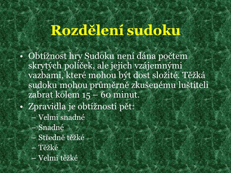Rozdělení sudoku Obtížnost hry Sudoku není dána počtem skrytých políček, ale jejich vzájemnými vazbami, které mohou být dost složité. Těžká sudoku moh