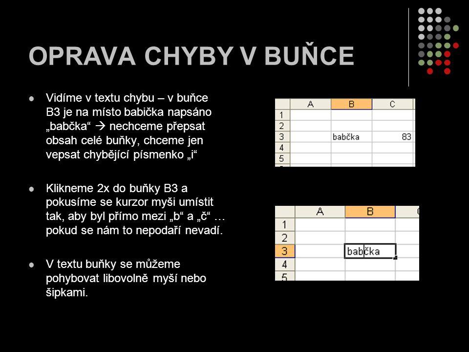 """OPRAVA CHYBY V BUŇCE Vidíme v textu chybu – v buňce B3 je na místo babička napsáno """"babčka  nechceme přepsat obsah celé buňky, chceme jen vepsat chybějící písmenko """"i Klikneme 2x do buňky B3 a pokusíme se kurzor myši umístit tak, aby byl přímo mezi """"b a """"č … pokud se nám to nepodaří nevadí."""
