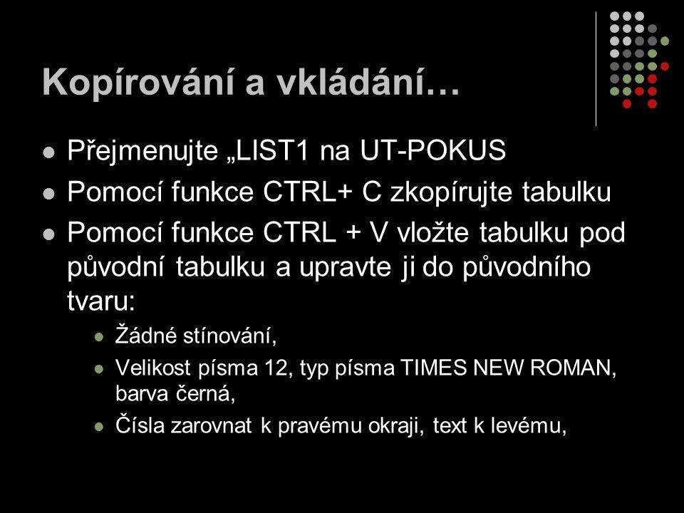 """Kopírování a vkládání… Přejmenujte """"LIST1 na UT-POKUS Pomocí funkce CTRL+ C zkopírujte tabulku Pomocí funkce CTRL + V vložte tabulku pod původní tabul"""