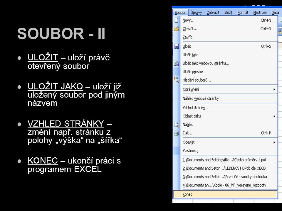 SOUBOR - II ULOŽIT – uloží právě otevřený soubor ULOŽIT JAKO – uloží již uložený soubor pod jiným názvem VZHLED STRÁNKY – změní např. stránku z polohy