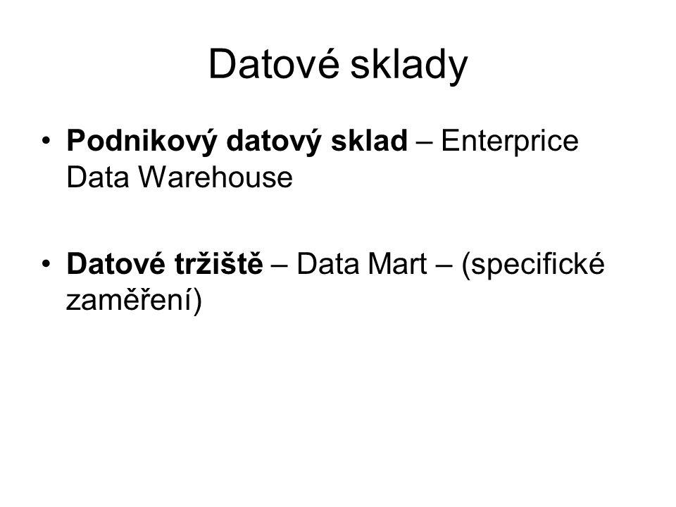 Datové sklady Podnikový datový sklad – Enterprice Data Warehouse Datové tržiště – Data Mart – (specifické zaměření)