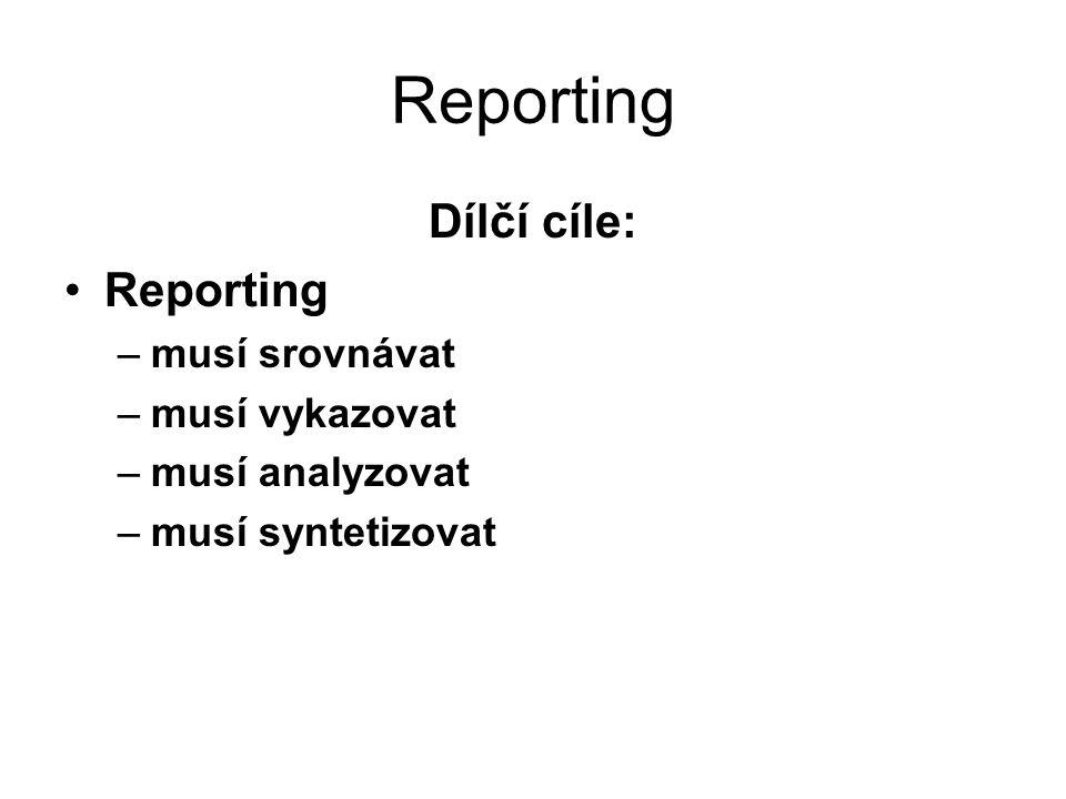 Reporting Dílčí cíle: Reporting –musí srovnávat –musí vykazovat –musí analyzovat –musí syntetizovat