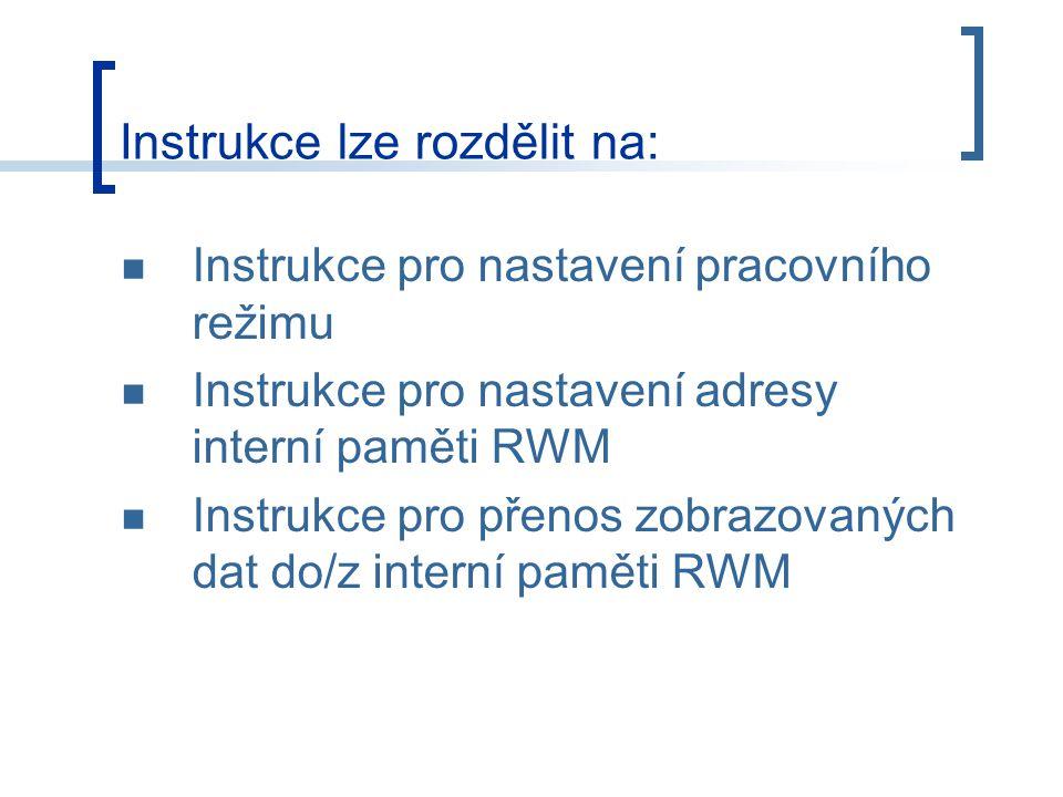 Instrukce pro nastavení pracovního režimu Instrukce pro nastavení adresy interní paměti RWM Instrukce pro přenos zobrazovaných dat do/z interní paměti RWM Instrukce lze rozdělit na: