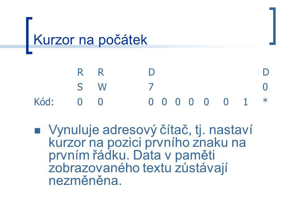 Kurzor na počátek RRDD SW70 Kód:000000001* Vynuluje adresový čítač, tj.