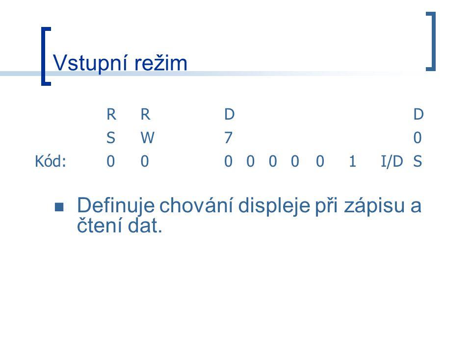 Vstupní režim RRDD SW70 Kód:00000001I/DS Definuje chování displeje při zápisu a čtení dat.