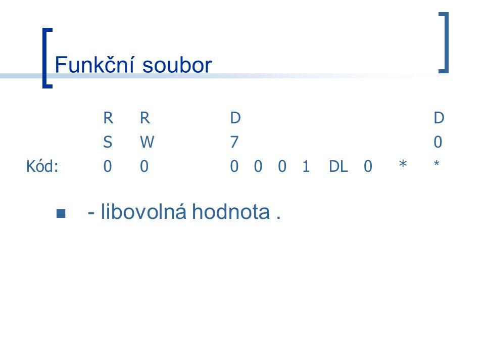 Funkční soubor RRDD SW70 Kód:000001DL0* * - libovolná hodnota.