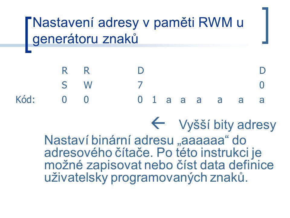 """Nastavení adresy v paměti RWM u generátoru znaků RRDD SW70 Kód:0001 aa aa aa  Vyšší bity adresy Nastaví binární adresu """"aaaaaa do adresového čítače."""