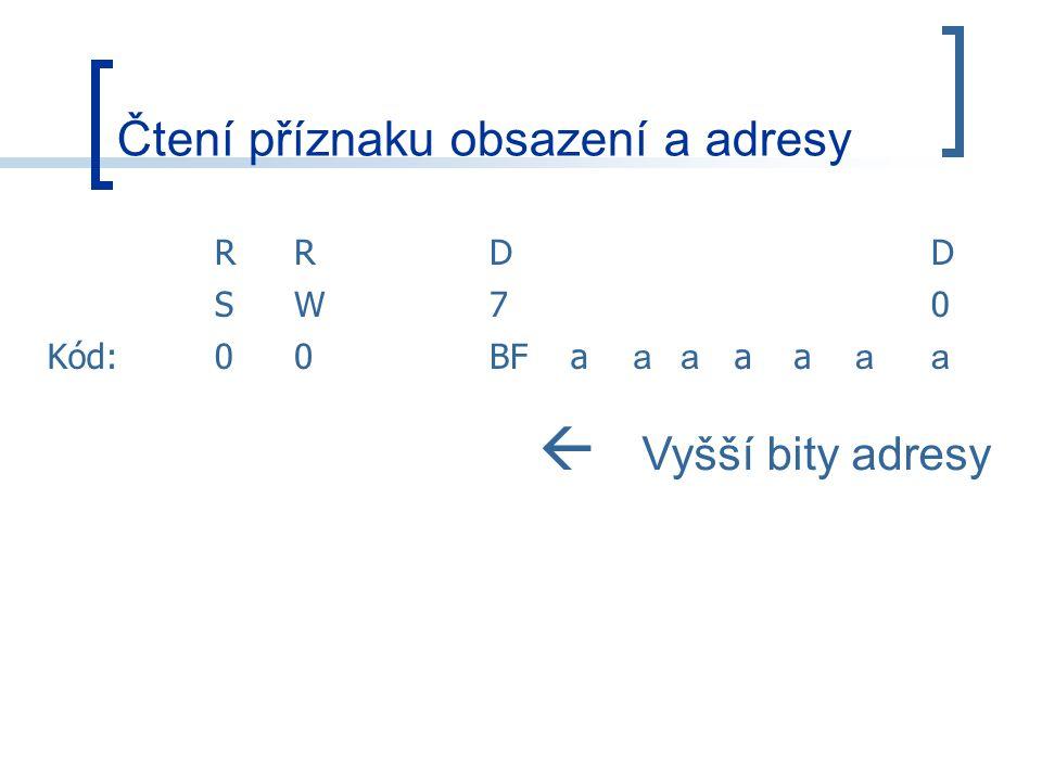 Čtení příznaku obsazení a adresy RRDD SW70 Kód:00BFa aa aa aa  Vyšší bity adresy