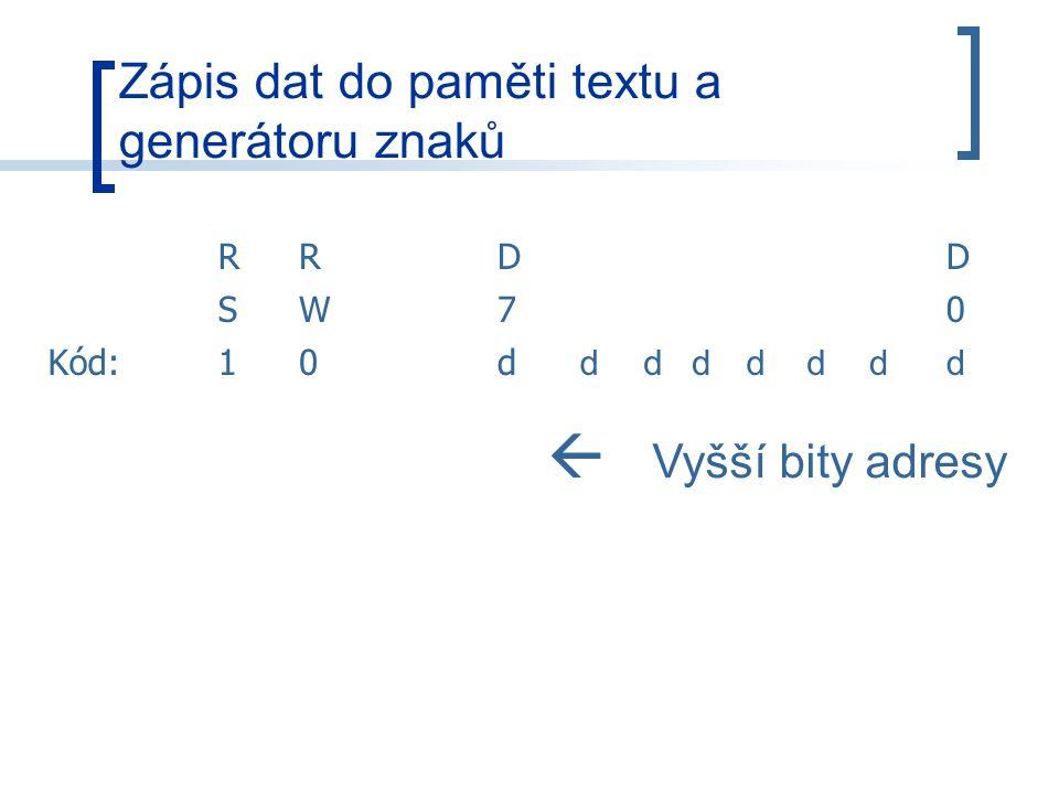 Zápis dat do paměti textu a generátoru znaků RRDD SW70 Kód:10d ddddddd  Vyšší bity adresy