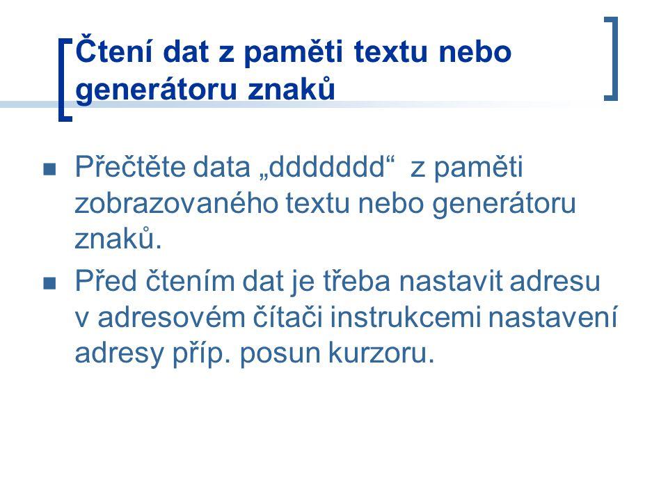 """Přečtěte data """"ddddddd z paměti zobrazovaného textu nebo generátoru znaků."""