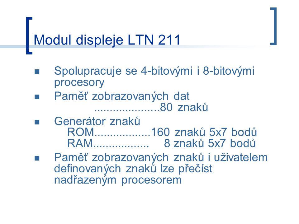 Spolupracuje se 4-bitovými i 8-bitovými procesory Paměť zobrazovaných dat.....................80 znaků Generátor znaků ROM..................160 znaků 5x7 bodů RAM..................