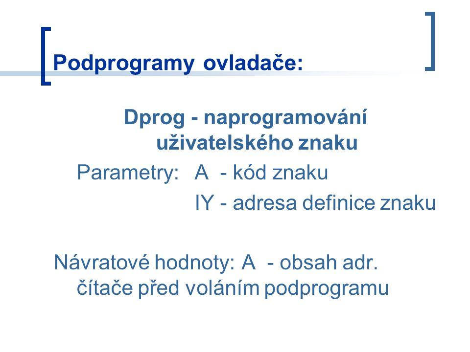 Dprog - naprogramování uživatelského znaku Parametry:A - kód znaku IY - adresa definice znaku Návratové hodnoty:A - obsah adr.
