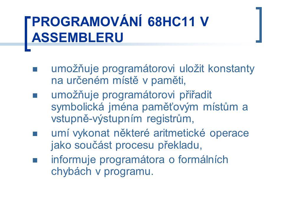 umožňuje programátorovi uložit konstanty na určeném místě v paměti, umožňuje programátorovi přiřadit symbolická jména paměťovým místům a vstupně-výstupním registrům, umí vykonat některé aritmetické operace jako součást procesu překladu, informuje programátora o formálních chybách v programu.