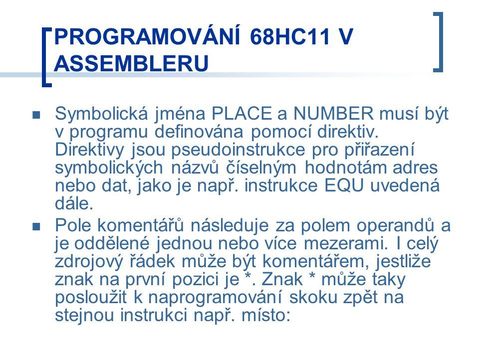 Symbolická jména PLACE a NUMBER musí být v programu definována pomocí direktiv.