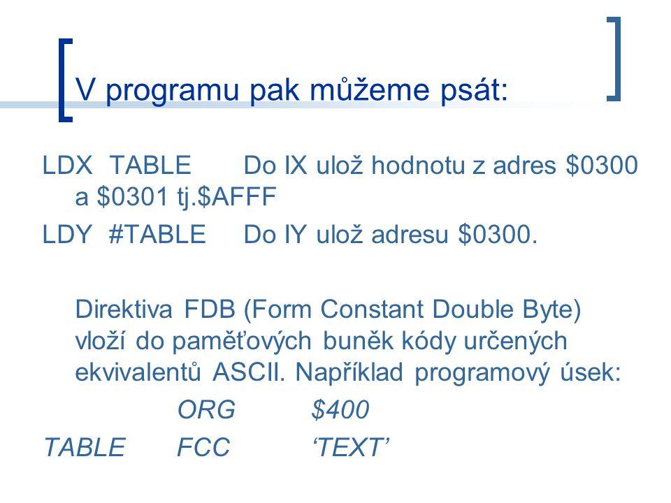 V programu pak můžeme psát: LDXTABLEDo IX ulož hodnotu z adres $0300 a $0301 tj.$AFFF LDY#TABLEDo IY ulož adresu $0300.