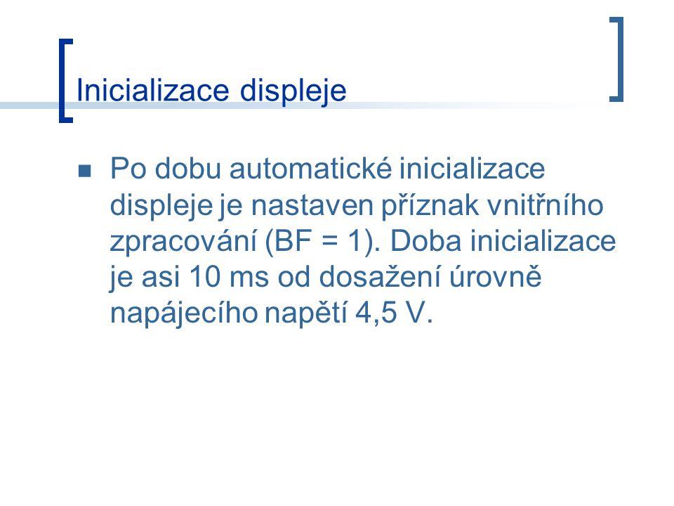 Po dobu automatické inicializace displeje je nastaven příznak vnitřního zpracování (BF = 1).