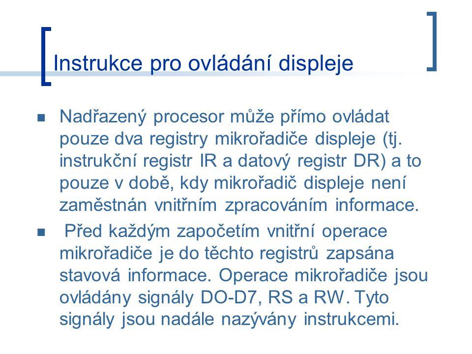 Nadřazený procesor může přímo ovládat pouze dva registry mikrořadiče displeje (tj.