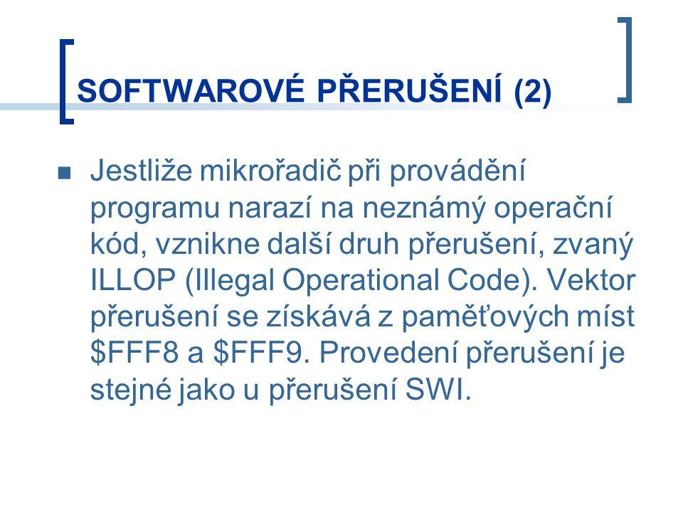 Jestliže mikrořadič při provádění programu narazí na neznámý operační kód, vznikne další druh přerušení, zvaný ILLOP (Illegal Operational Code). Vekto