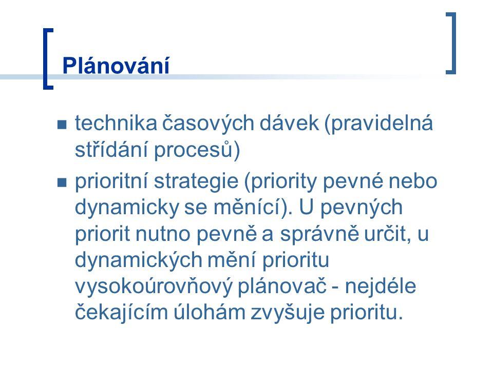 Plánování technika časových dávek (pravidelná střídání procesů) prioritní strategie (priority pevné nebo dynamicky se měnící).