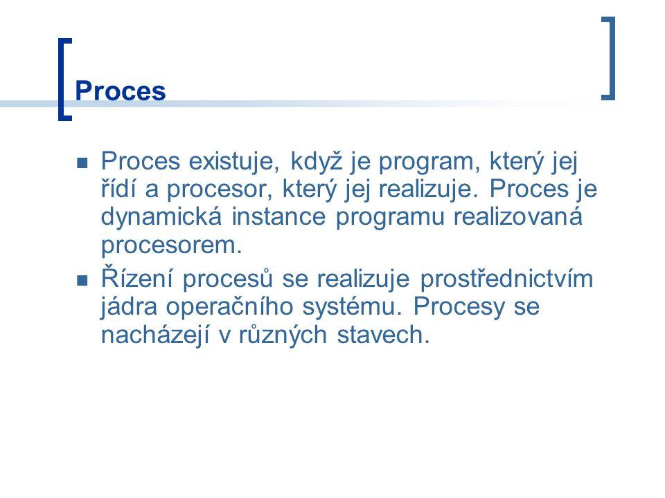 Proces Proces existuje, když je program, který jej řídí a procesor, který jej realizuje.