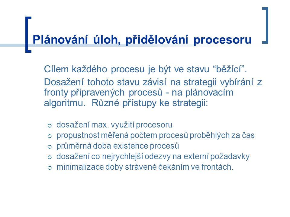 Plánování úloh, přidělování procesoru Cílem každého procesu je být ve stavu běžící .