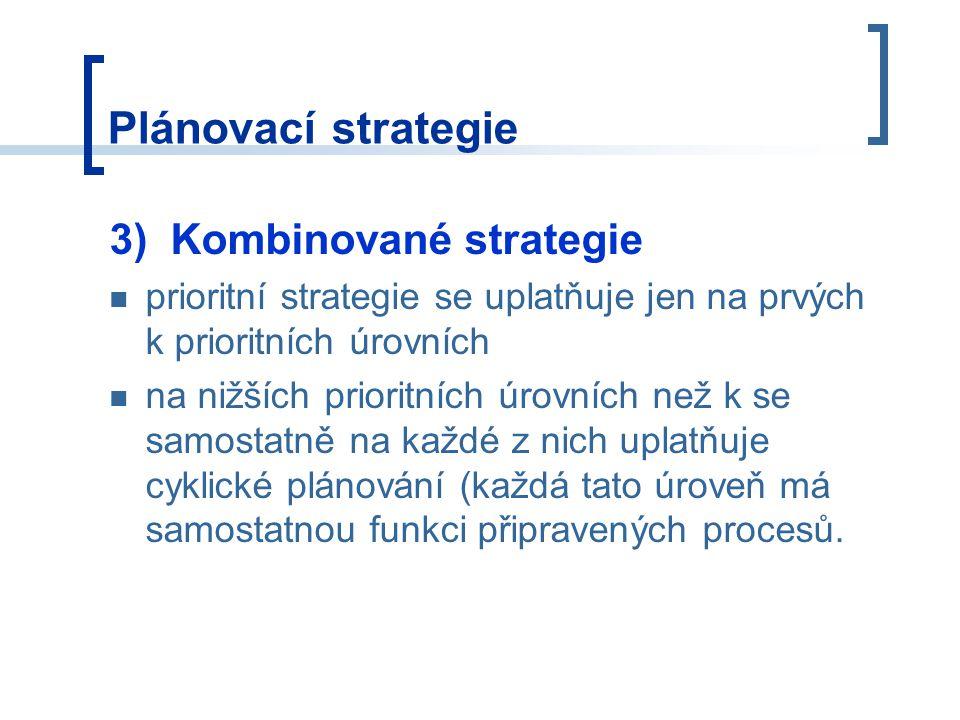 Plánovací strategie 3) Kombinované strategie prioritní strategie se uplatňuje jen na prvých k prioritních úrovních na nižších prioritních úrovních než k se samostatně na každé z nich uplatňuje cyklické plánování (každá tato úroveň má samostatnou funkci připravených procesů.