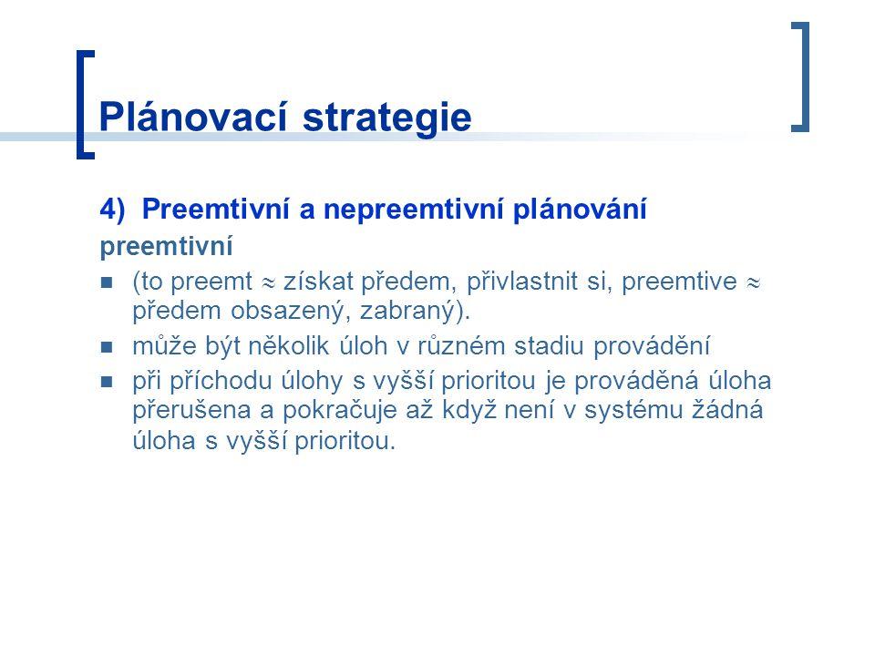 Plánovací strategie 4) Preemtivní a nepreemtivní plánování preemtivní (to preemt  získat předem, přivlastnit si, preemtive  předem obsazený, zabraný).