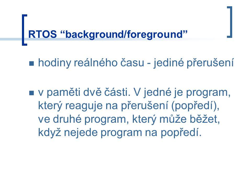 RTOS background/foreground hodiny reálného času - jediné přerušení v paměti dvě části.